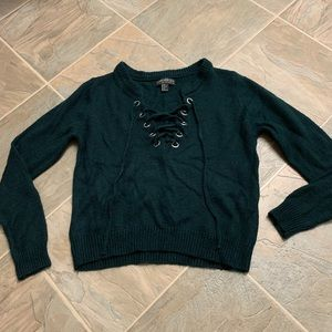 PLUS SIZE: Lace Up Forest green sweater